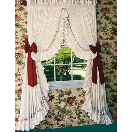 Pearl Edge Ruffled Curtains Natural