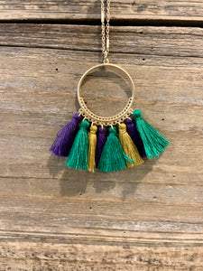 Mardi Gras Multicolored Fringe Necklace
