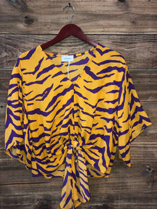 Tiger Front Tie Sleeve Top
