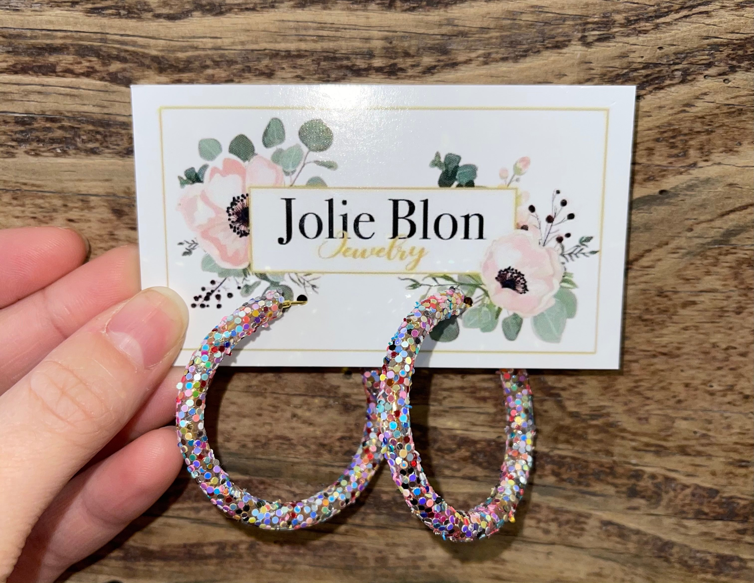 Multi Glitter Hoop Earrings