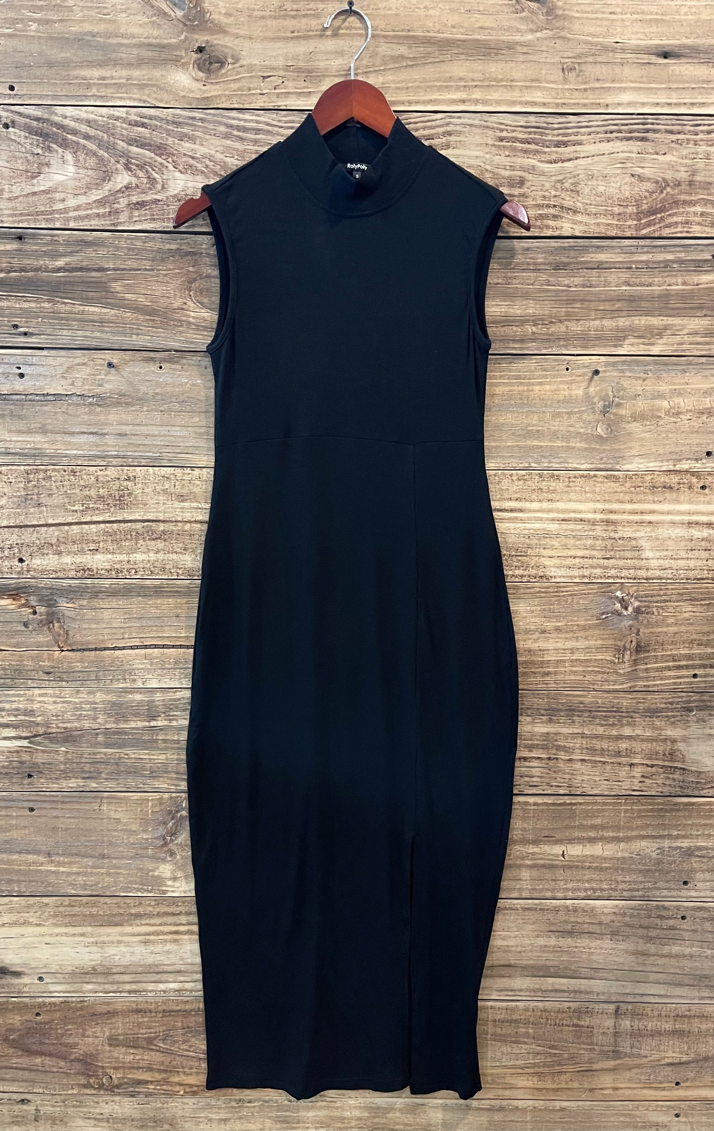 Black Ribbed Tank Dress