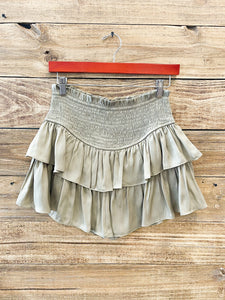 Sage Shirred Frill Tier Layer Skirt
