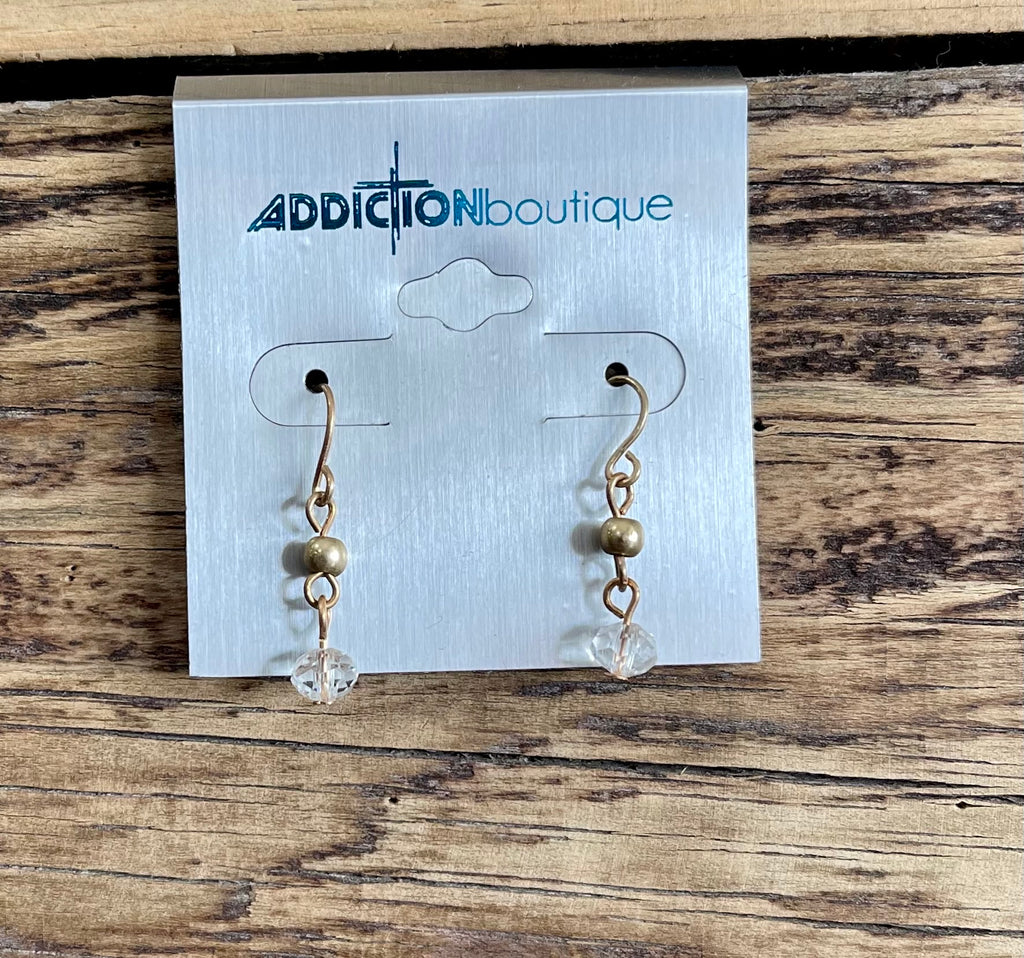 Gold small clear bead earrings