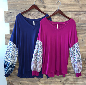 Long Sleeve Tee with Leopard/Stripe