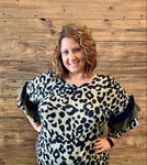 Leopard layered ruffle sleeve top