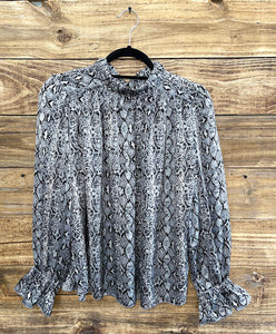 Ruffle Neck Grey Snake Top