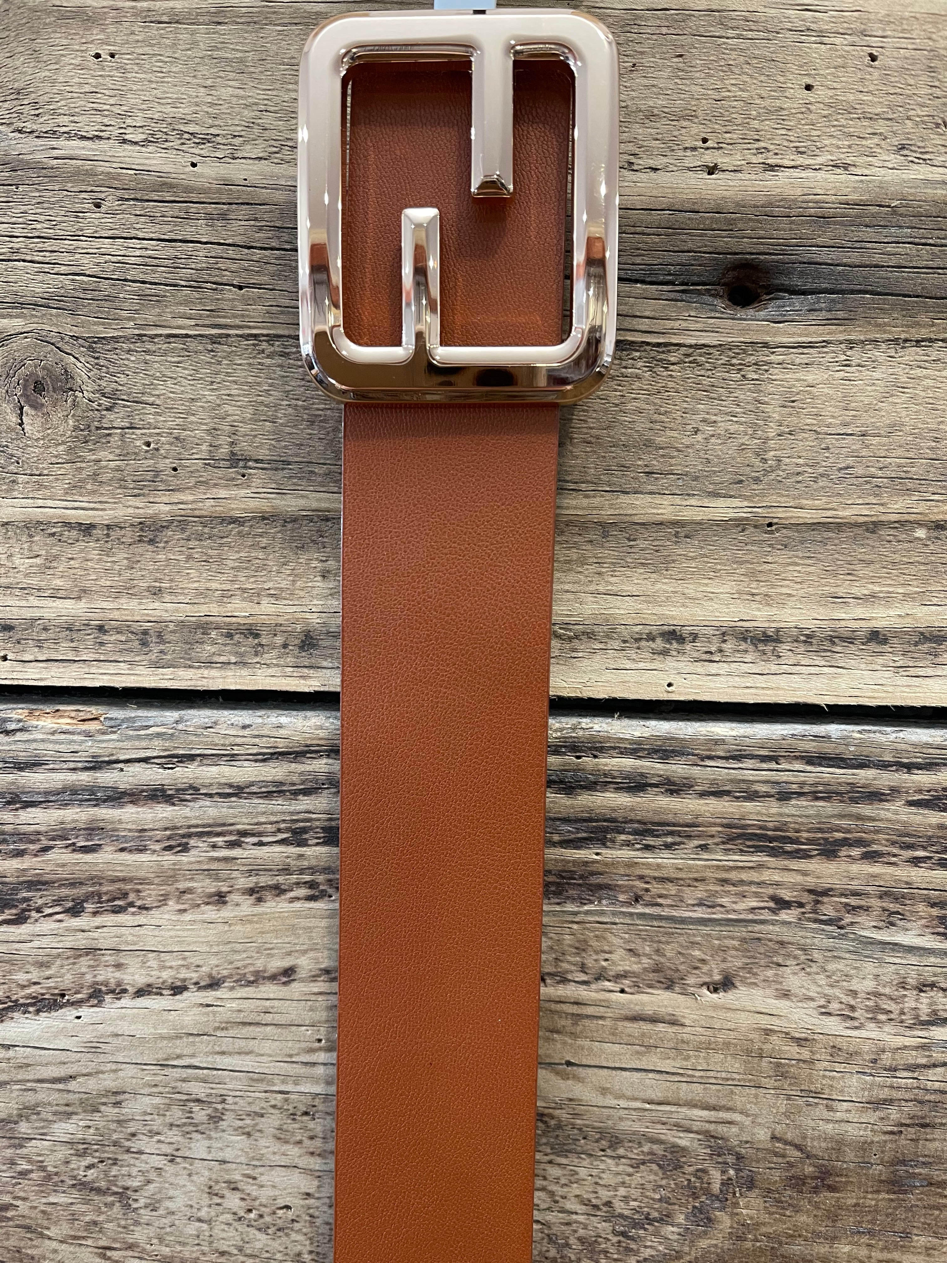 Tan Belt with Gold Square buckle