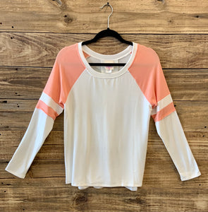 Peach Shoulder Long Sleeve Sweater