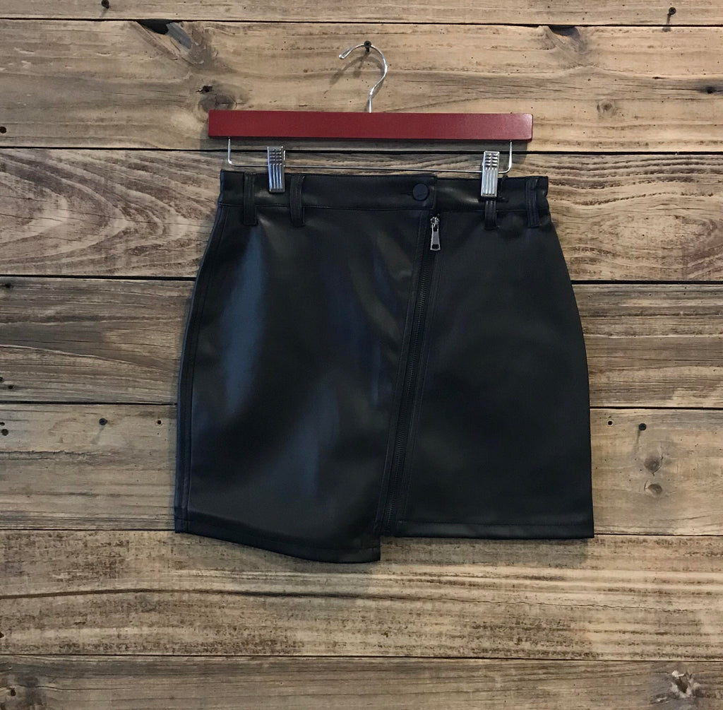 Dear John Leather Zip-Up skirt