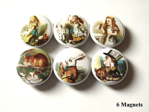 Alice in Wonderland MAGNETS mad hatter white rabbit cheshire cat drink me - Art Altered  - 1