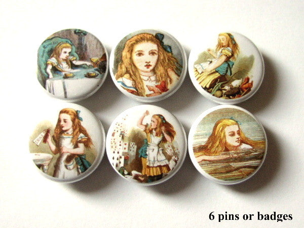 Alice party favors PINBACK BUTTONS pins badges drink me-Art Altered