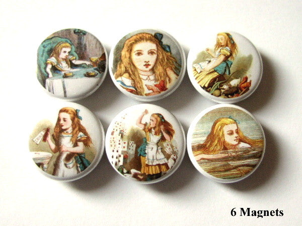 Alice in Wonderland MAGNETS cute party favors drink me swimming - Art Altered  - 1