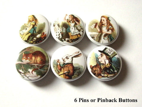Cute Alice PINBACK BUTTONS pins badges wonderland mad hatter chesire cat - Art Altered  - 1
