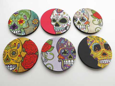 Dia de los Muertos Coasters day of the dead sugar skulls calavera
