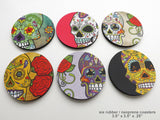 Dia de los Muertos Coasters day of the dead sugar skulls calavera-Art Altered