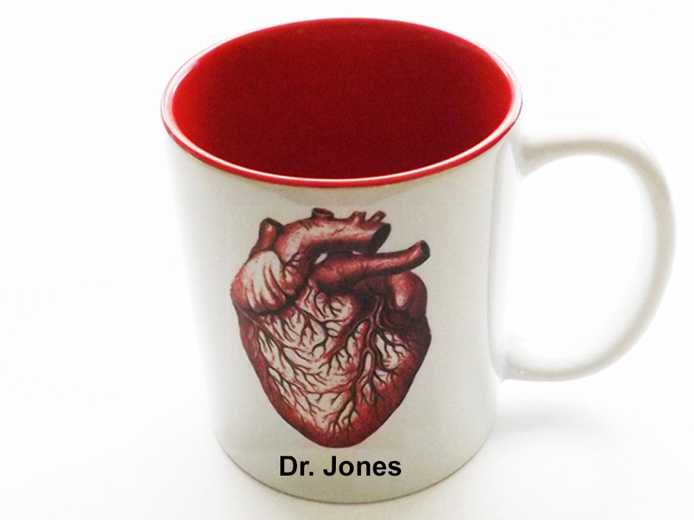 Personalized Anatomical Heart Coffee Mug customized medical student graduation gift nurse practitioner doctor physician assistant rn md pa np