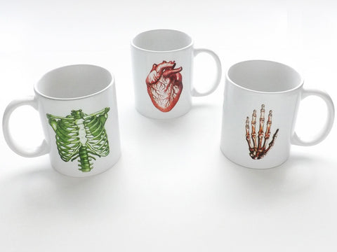 Medical Theme Ceramic Coffee Mug set physician office staff anatomy gift-Art Altered