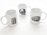 Anatomy Theme 3 Ceramic Coffee MUGS Set skull brain spine medical student nurse doctor gift - Art Altered  - 1