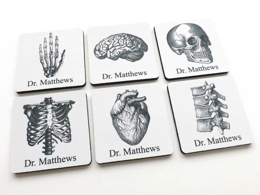 Personalized Anatomy Coasters Gift human body skull brain anatomical heart doctor nurse student medical rn pa np md-Art Altered
