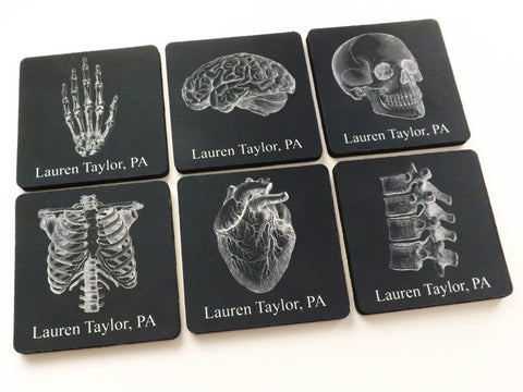 Custom Name Anatomy Coasters Gift Set human body skull brain anatomical heart doctor nurse medical school student-Art Altered