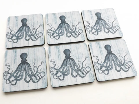 Octopus Drink Coasters beach sea ocean nautical home decor tentacles-Art Altered
