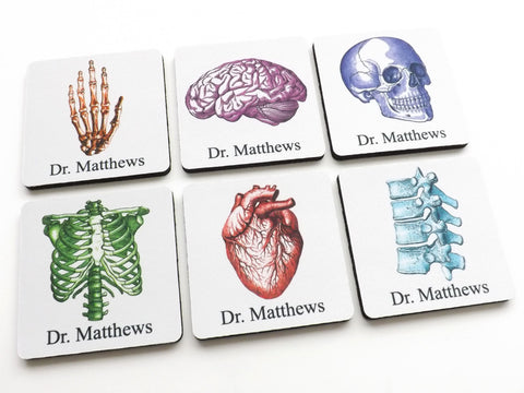 Customized Anatomy Coasters Graduation Gift doctor nurse practitioner physical therapist med student medical rn pa np md dc-Art Altered