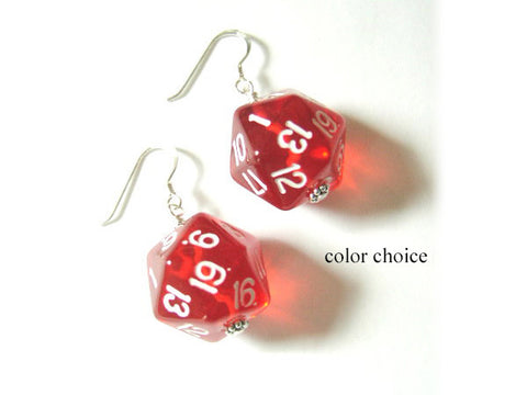 Geekery D20 Dice Earrings game piece jewelry gamer rpg dungeons dragons - Art Altered  - 1