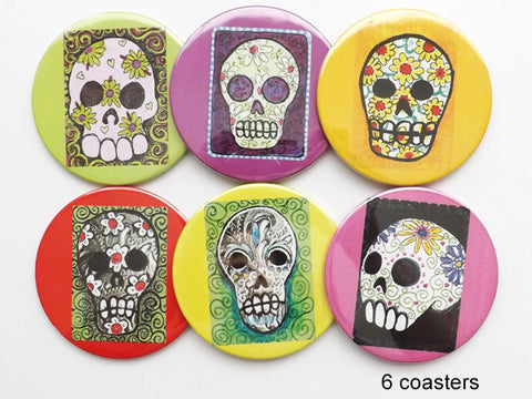 Sugar Skulls COASTERS day of the dead sugar skulls calavera dia de los muertos - Art Altered  - 1