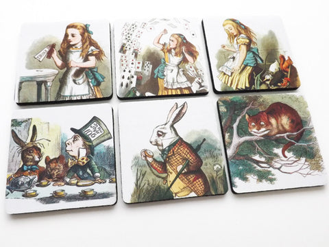 Alice Coasters rubber / neoprene drink me mad hatter party favors hostess gift
