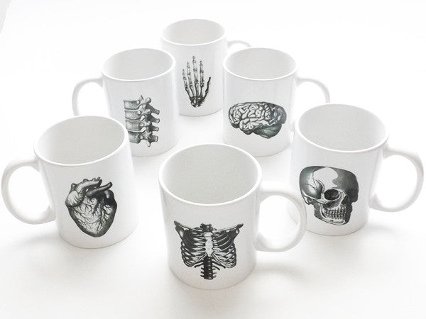 Anatomy Coffee MUGS Set of 6 skull brain spine anatomical heart medical student nurse doctor gift - Art Altered  - 10