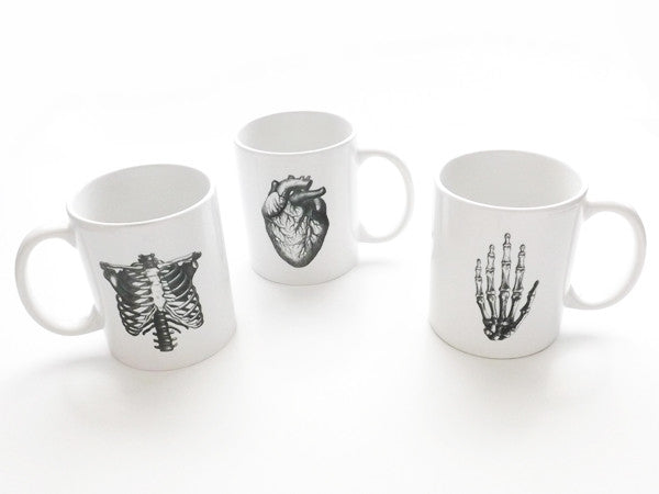 Anatomy 3 Ceramic Coffee MUGS Set anatomical heart medical student nurse doctor gift - Art Altered  - 1
