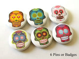 Sugar Skulls PINBACK BUTTONS pins badges funky day of the dead dia de los muertos - Art Altered  - 1