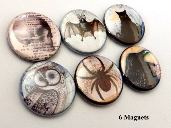 Horror MAGNETS macabre goth halloween party favors owl spider bat cat skull crow-Art Altered