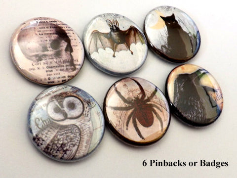 Macabre PINBACK BUTTONS pins badges goth spider owl skull hand crow cat bat halloween-Art Altered
