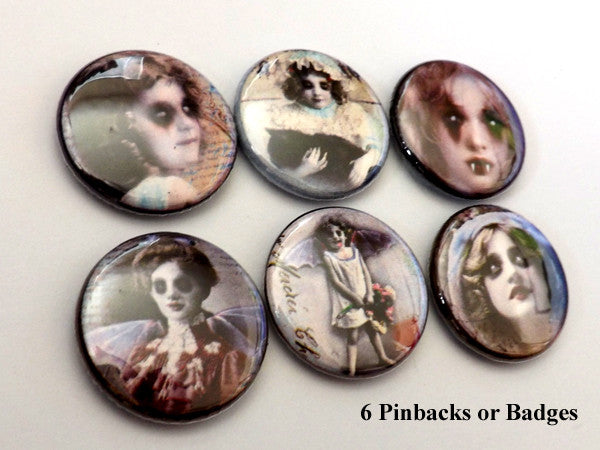 Horror Macabre PINBACK BUTTONS pins badges creepy faces vampire children halloween - Art Altered  - 1