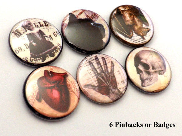 Goth PINBACK BUTTONS pins badges macabre anatomical heart skull - Art Altered  - 1