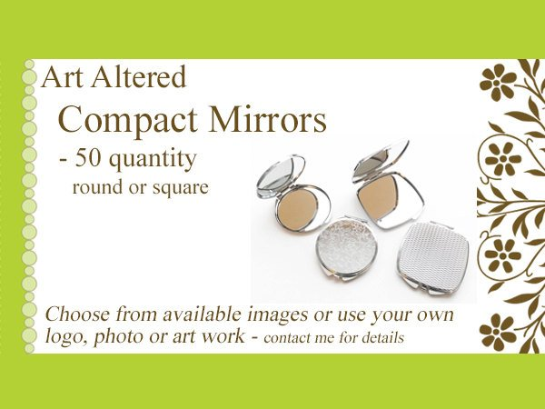 Compact MIRRORS 50 gifts round square custom personalized party favors stocking stuffers bachelorette bridal save the date shower wedding-Art Altered