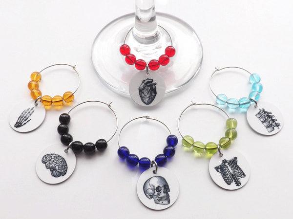 Anatomy Drink Marker Glass Charms physician assistant hostess drink markers medical gift-Art Altered