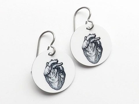 Anatomical Heart Anatomy Earrings graduation medical student jewelry gift brain skull halloween doctor nurse physician assistant accessory-Art Altered