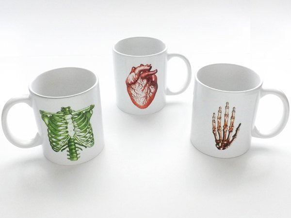 Anatomy coffee mug anatomical unique hostess gift for doctor him her heart cardiology stocking stuffer medical grey human body mother's day-Art Altered
