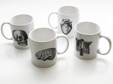 Anatomy Mug set novelty gift him Father's Day physical therapist coffee cups anatomical heart medical decor gothic skull science human body-Art Altered