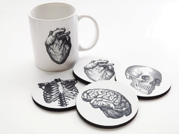 Coffee Mug and Coasters gift set Anatomy doctor male nurse graduation anatomical heart science goth biology white coat ceremony skull brain-Art Altered