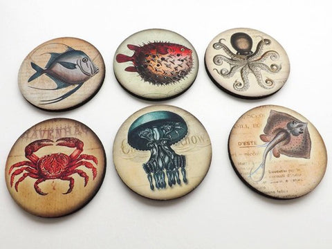 Ocean Creatures Coasters mug rugs hostess gift coastal beach nature crab puffer blue fish octopus jellyfish party favor home decor nautical-Art Altered