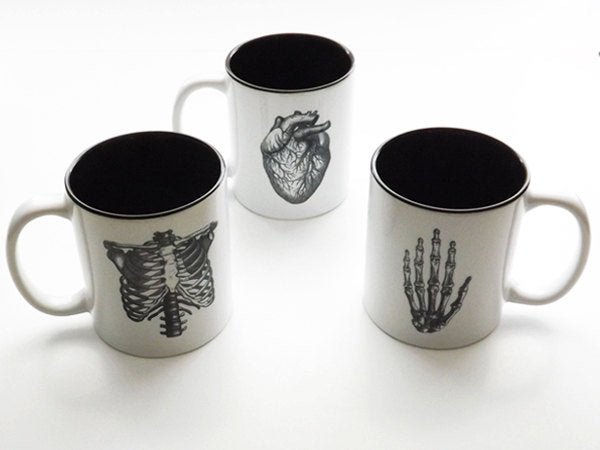 Graduation Gift Medical Anatomy coffee mugs novelty dorm decor anatomical heart doctor office thank you school student black and white-Art Altered