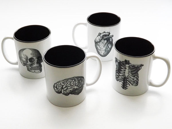 Human Anatomy Mugs Cup gift set goth medical home decor coffee tea kitchen macabre halloween-Art Altered