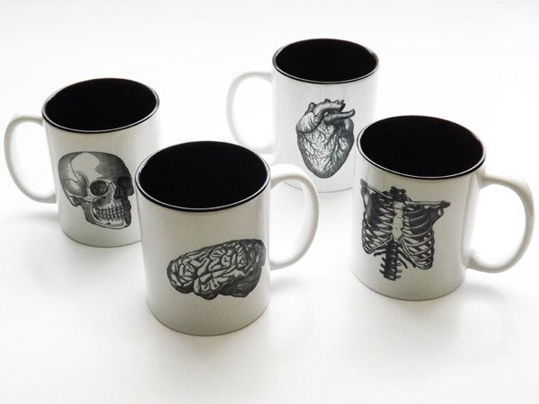 Human Anatomy Mugs Cup gift set black white anatomical heart medical home decor gothic skull coffee tea kitchen macabre halloween spooky-Art Altered