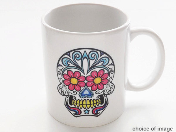 Day of the Dead Sugar Skull ceramic coffee Mugs Dia de los Muertos calavera Halloween party favors-Art Altered