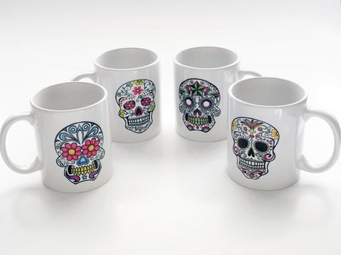 Sugar Skulls coffee Mugs Cups gift Day of the Dead Dia de los Muertos home kitchen decor goth halloween calavera party favor folk art shower-Art Altered