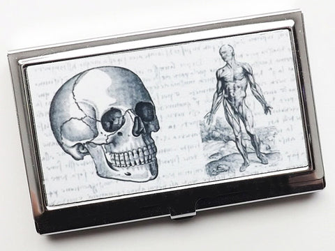 Skull Business Card Holder medical student graduation doctor gift for her him goth stocking stuffer nurse physician assistant male office-Art Altered