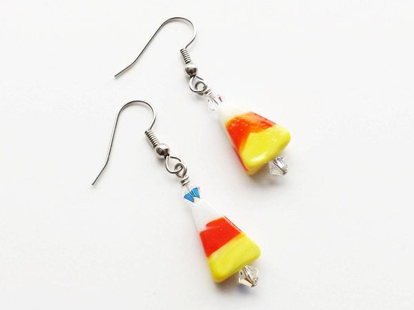 Candy Corn Earrings accent beads glass beaded novelty earrings halloween dangle retro cute simple stocking stuffers party favors gifts-Art Altered